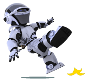 Robot slipping on bananna peel