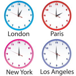Clocks in different cities