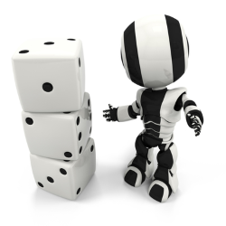 Robot standing next to pile of dice