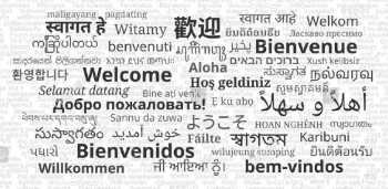 Welcome written in many languages