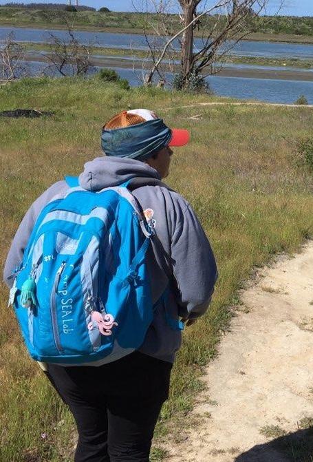 Student hiking