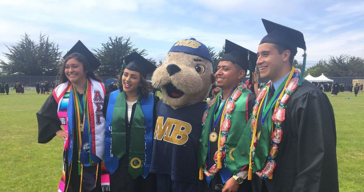 Students standing with CSUMB's mascot Monte Ray