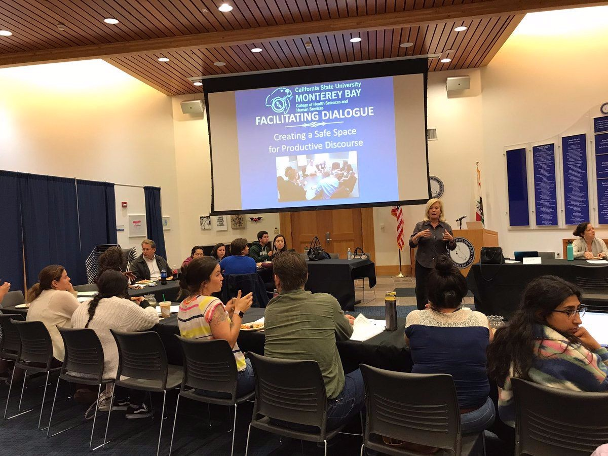 Dean Britt Rios-Ellis speaks to CSUMB Master of Social Work students