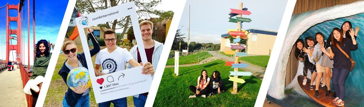 Picture collage of international students who have studied at CSUMB