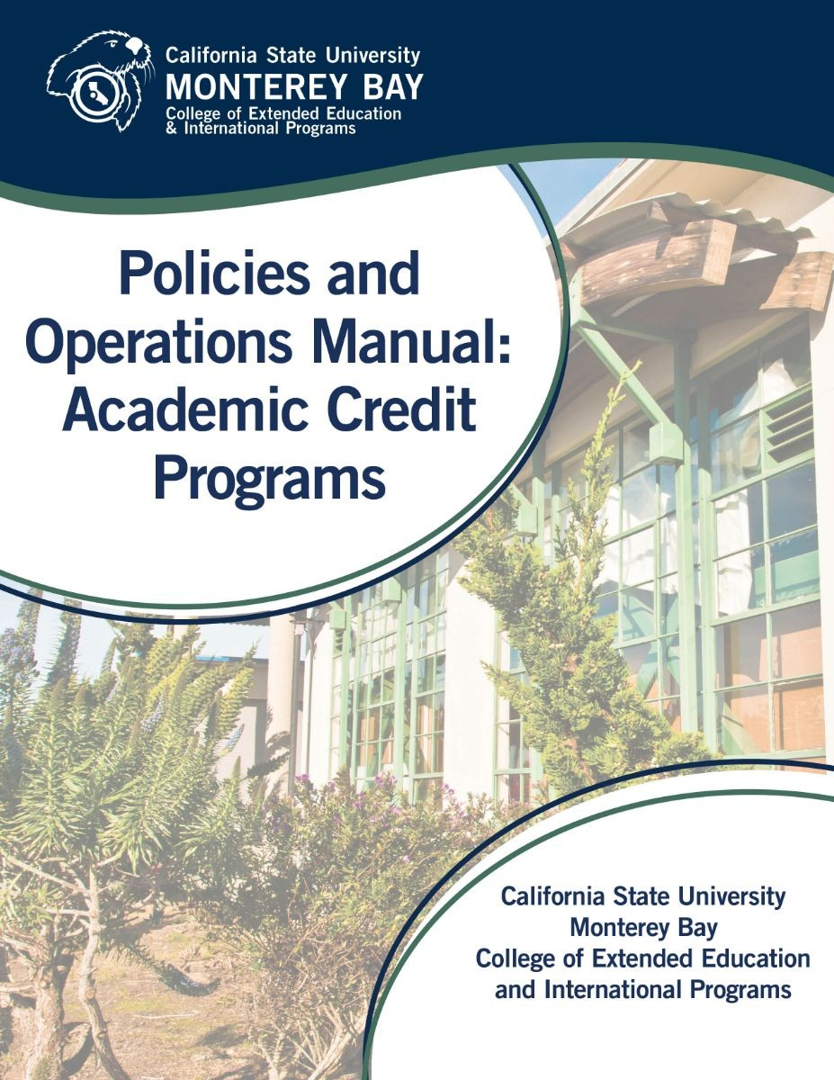 Picture of the cover for the Policies and Operations Manual for Academic Credit
