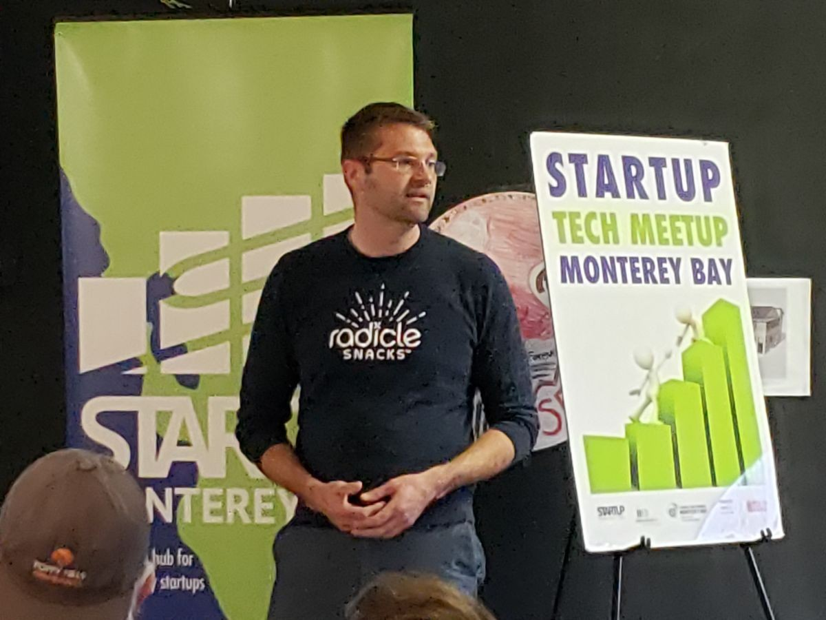 Picture of Seth Kinkaid in front of Startup Tech Meetup sign
