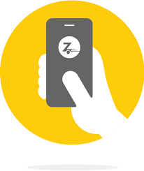 A clipart of a hand holding a phone with the zipcar logo