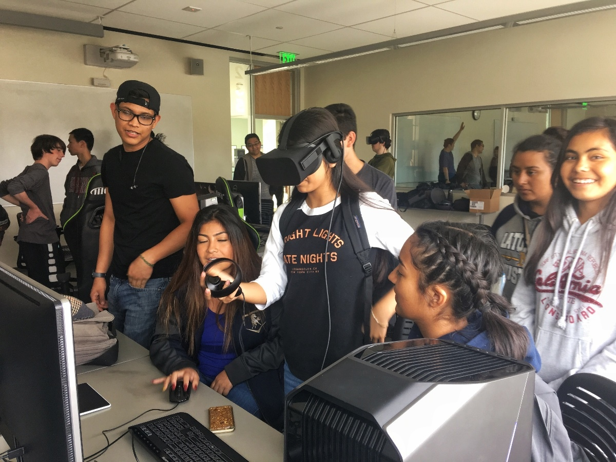 25 students from the Central Valley Upward Bound Program explore CSUMB's VR lab