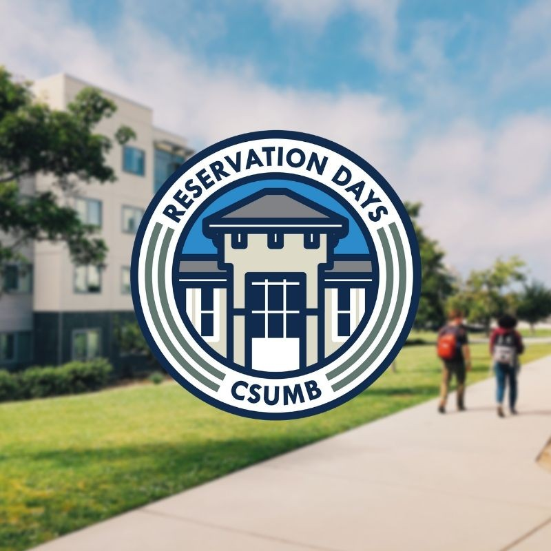 North Quad Area with students walking and the Reservation Days logo