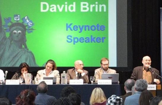 Speaker, David Brin, and panelists