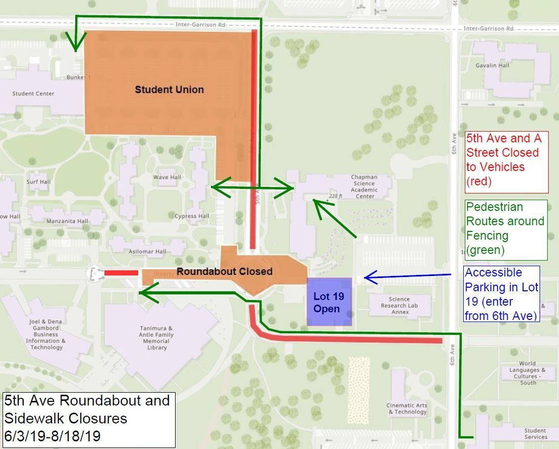 Pedestrian detours near 5th Avenue Roundabout