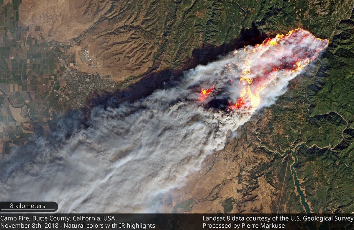 An aerial image of the Camp Fire