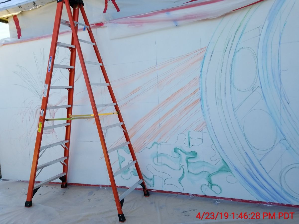 outline sketching of mural