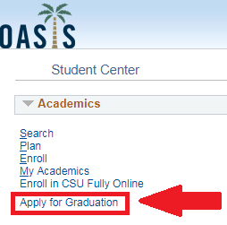 screenshot of Oasis apply for graduation link