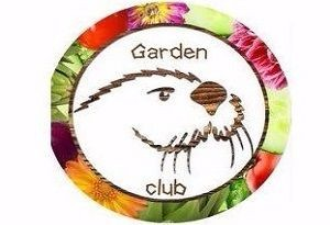 Garden club logo, otter surrounded by flowers