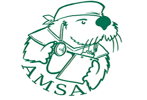 AMSA logo, otter with scrubs