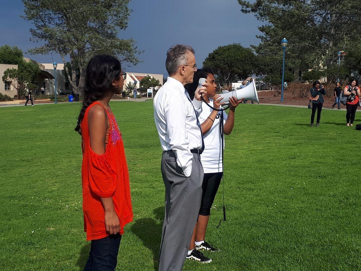 President Ochoa and students