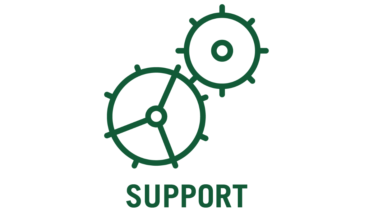 support and gears icon