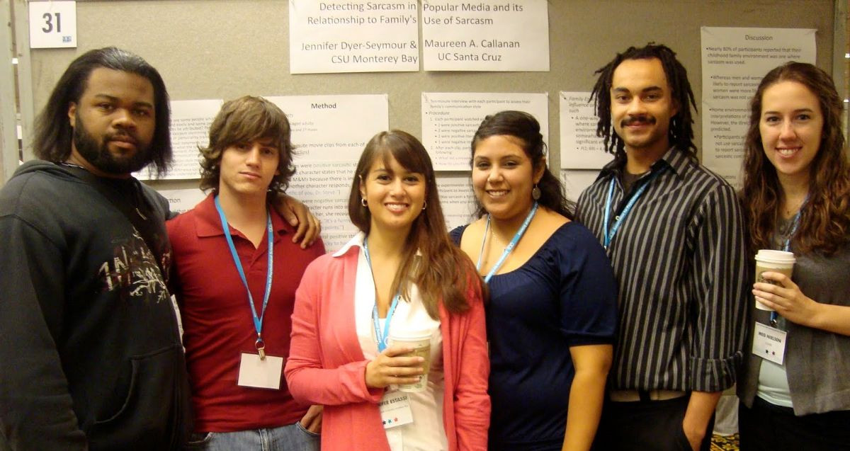 Students, including Scott, presenting research at APS in 2009.