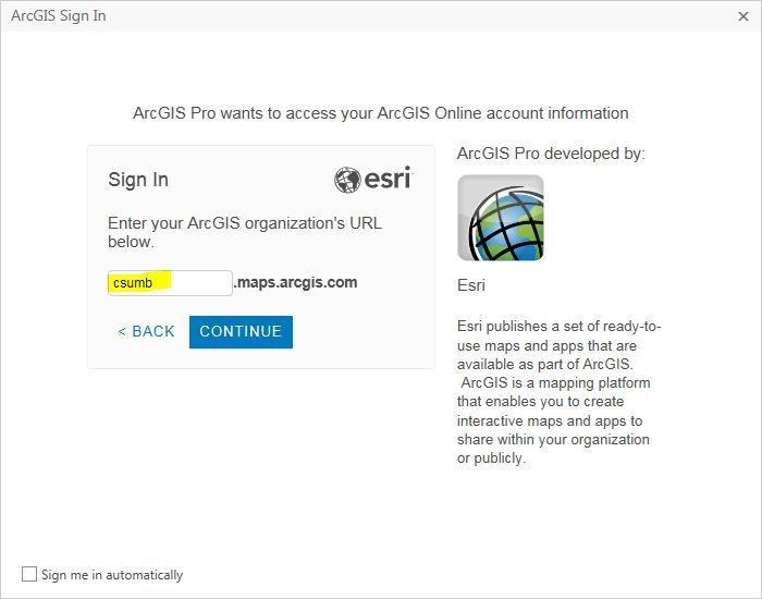 Enter CSUMB AGOL organization URL: csumb.maps.arcgis.com