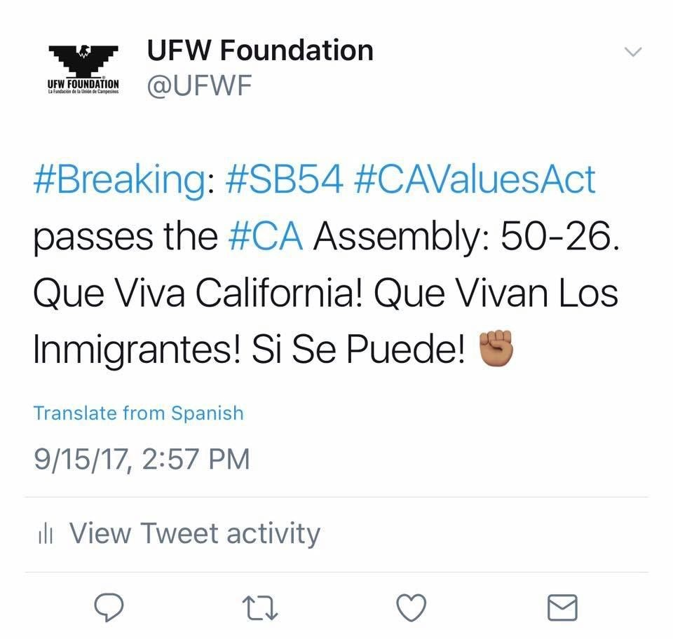 Tweet about the impact of SB54.
