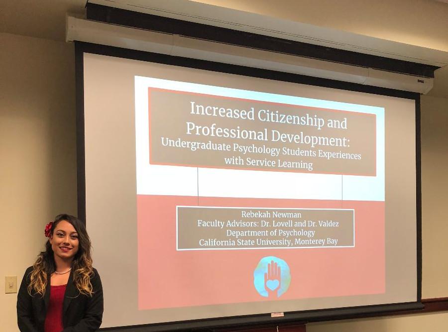 Rebekah Newman presenting her work at the CSU SRC.
