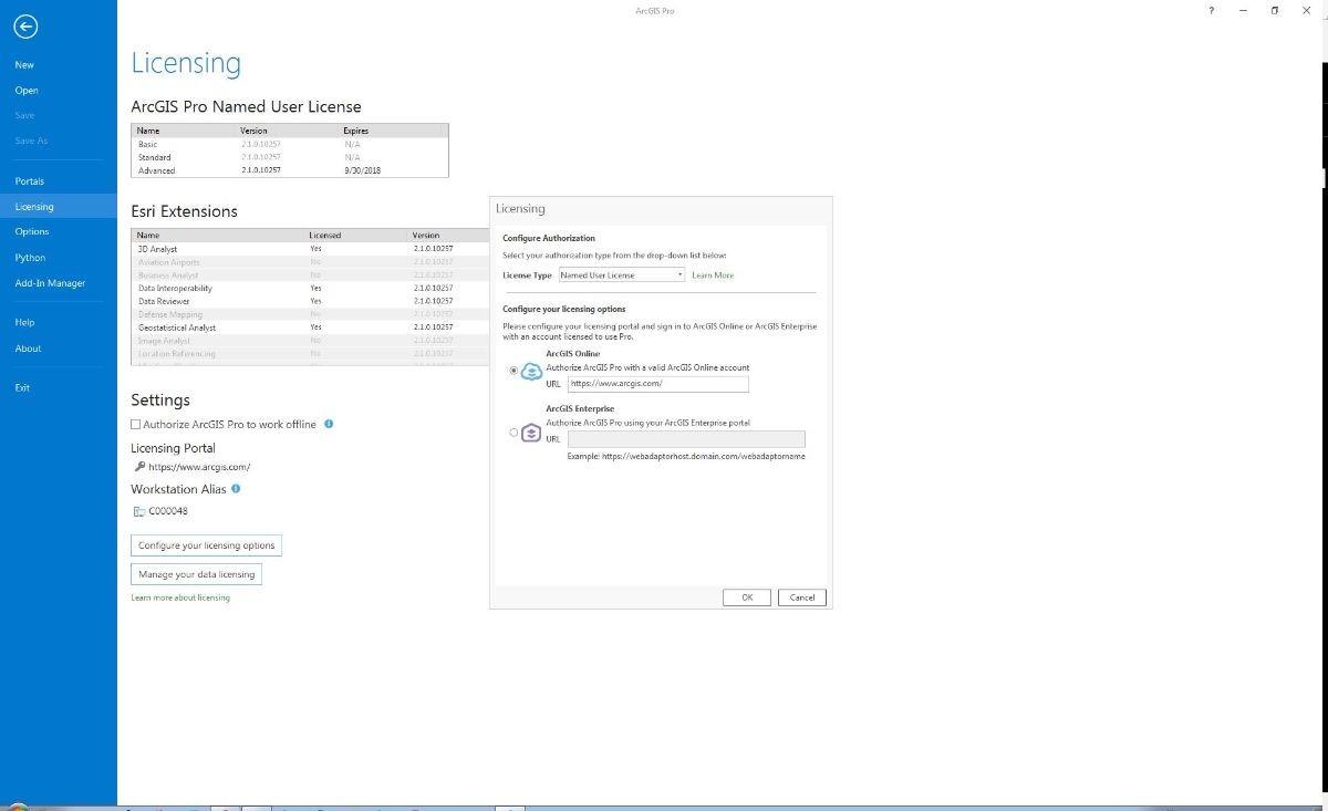 ArcGIS Pro Licensing interface set up for Named User License
