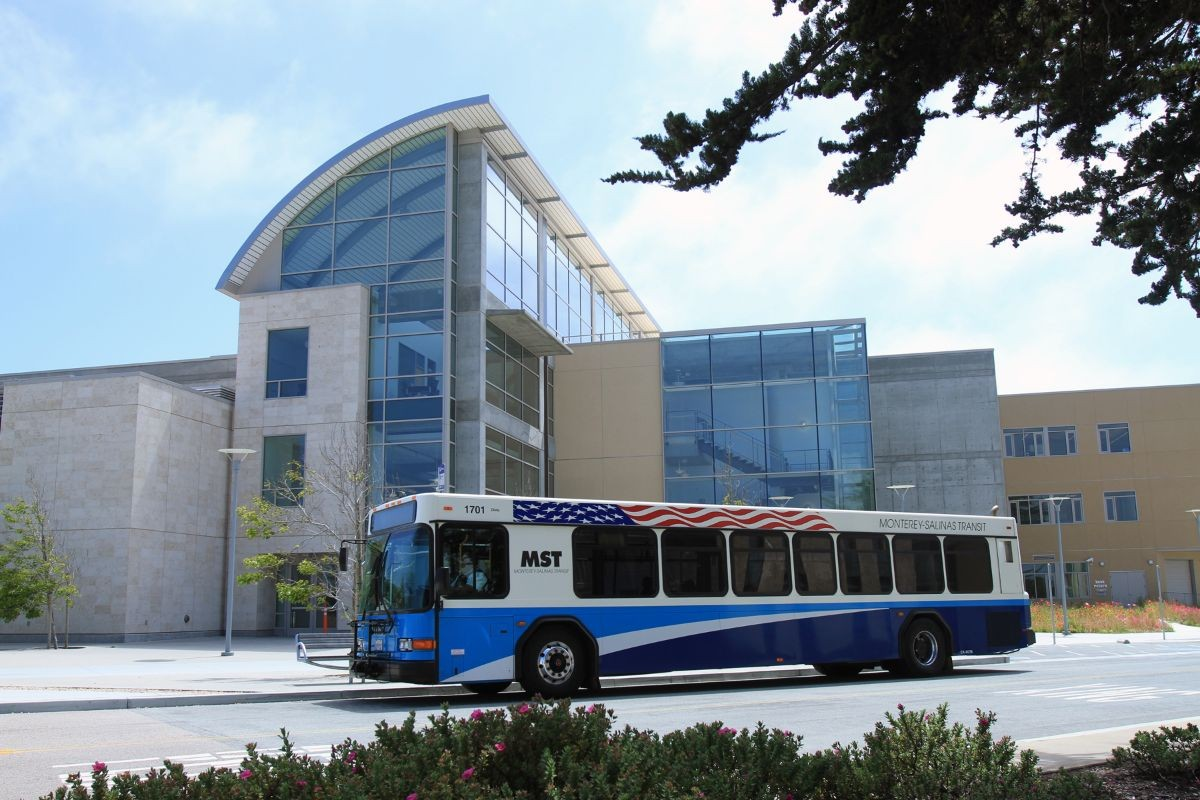 MST bus in front of the library