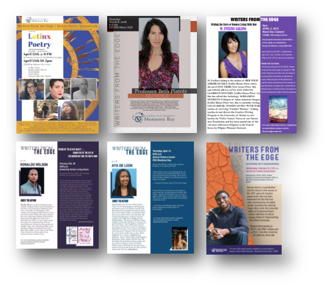 A collage of previous Writers from the Edge Speakers Posters