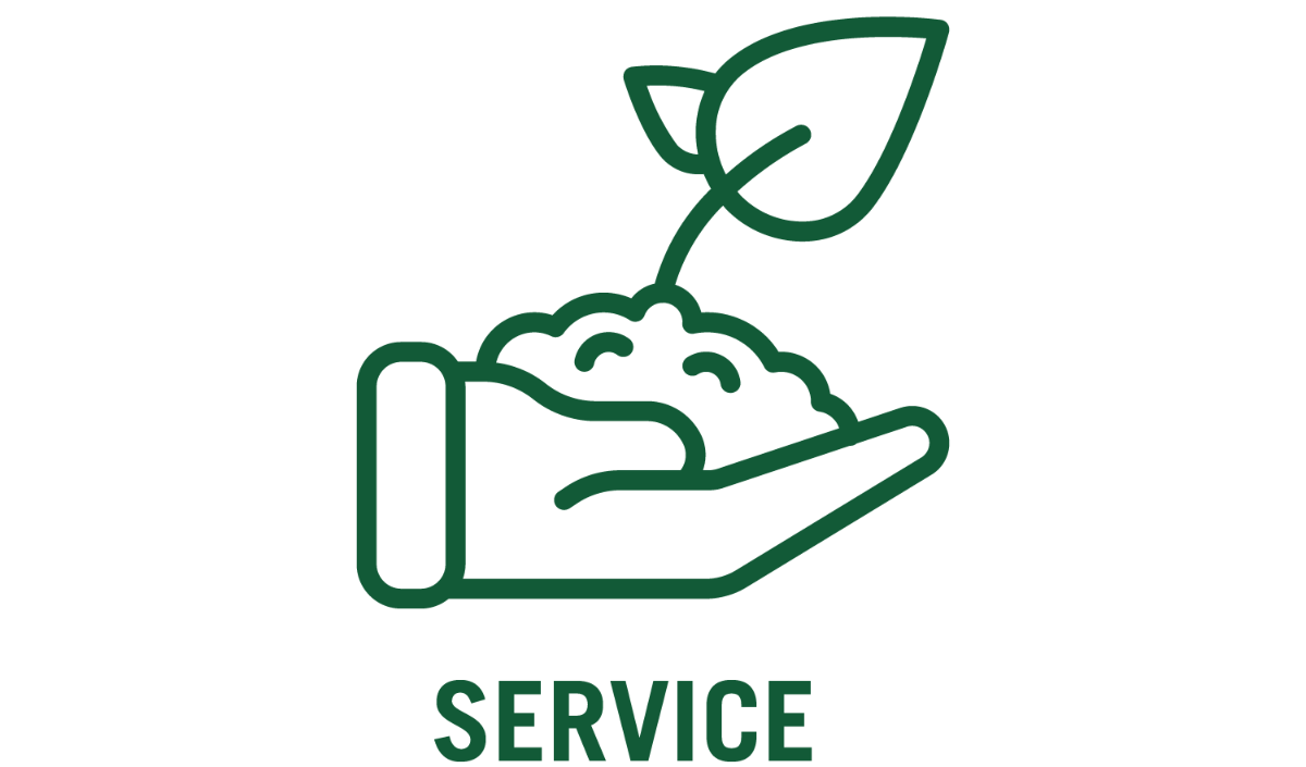 service and hand with plant icon