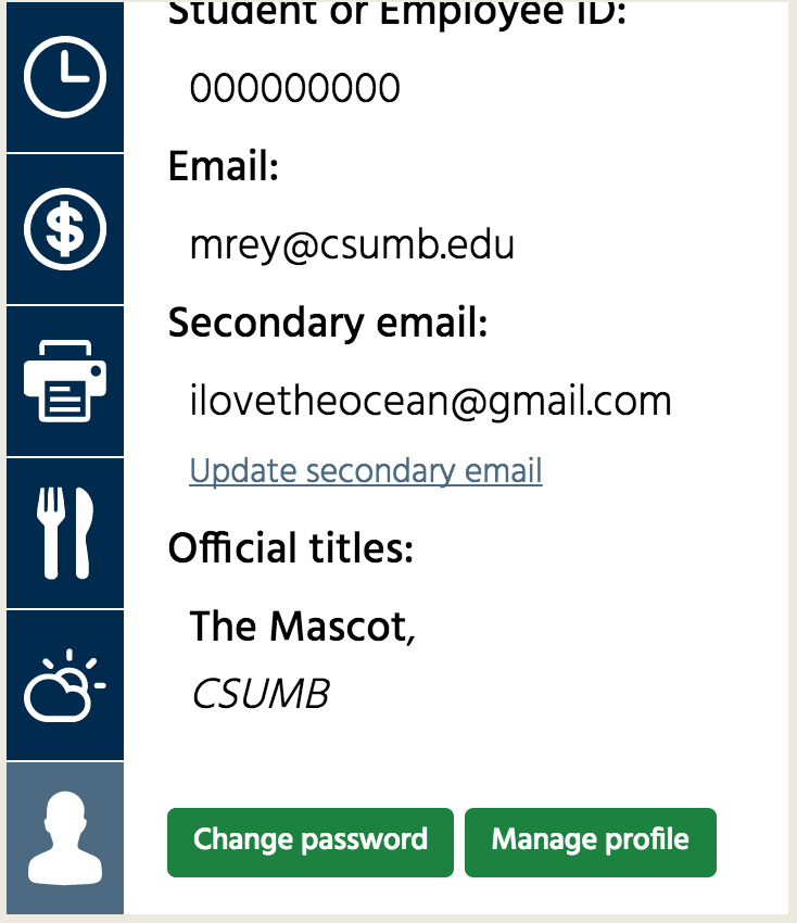 Screenshot displaying where you manage your profile