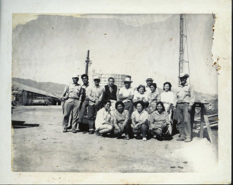 Fusako Yonemitsu (bottom row) and Tomi Matsuno (top row) with employees .