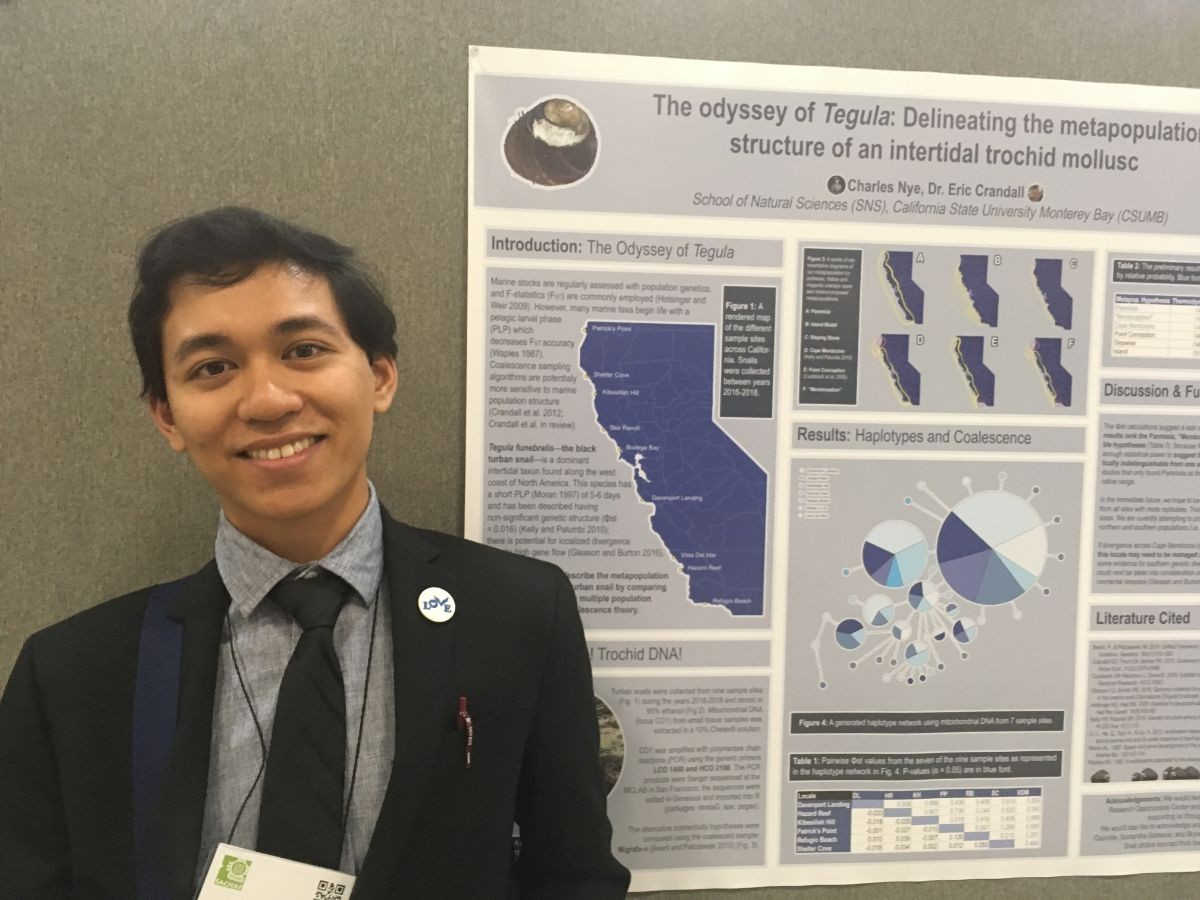 Charles standing next to his research poster at the SACNAS conference