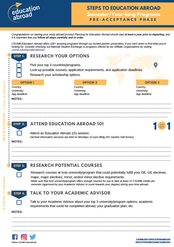 Download the Education Abroad Checklist