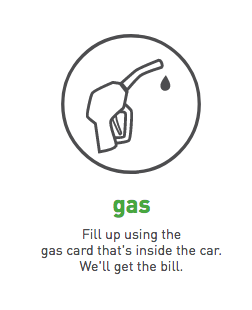 fill up using the gas card that's inside the car.