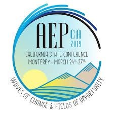 "AEP conference logo with ""waves of change & fields of opportunity"" in text"