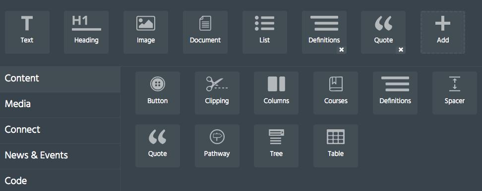 screenshot of block palette