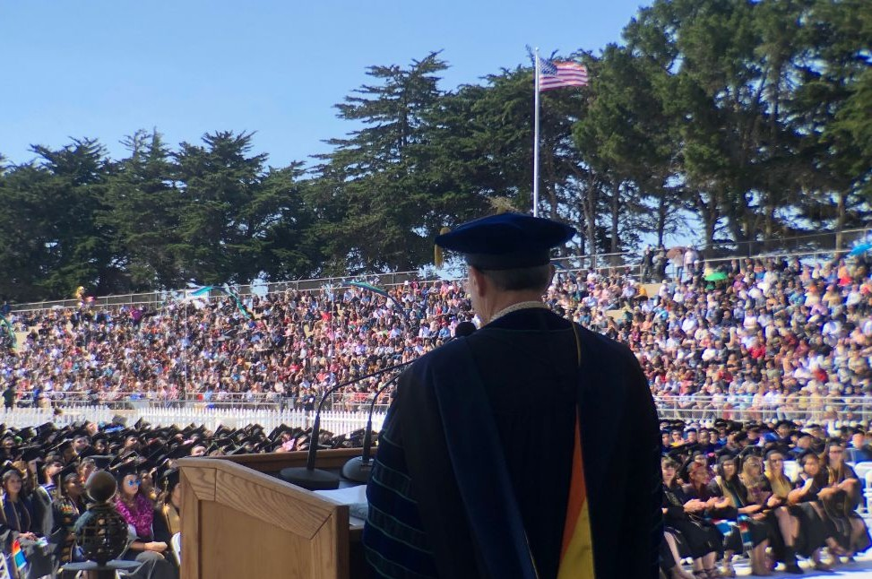 CSUMB President Eduardo M. Ochoa addresses the class of 2019.