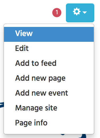 screenshot of add to feed options under the blue gear