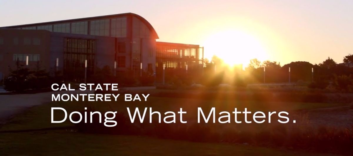 """Cal State Monterey Bay Doing What Matters"" picture of the library during sunset"