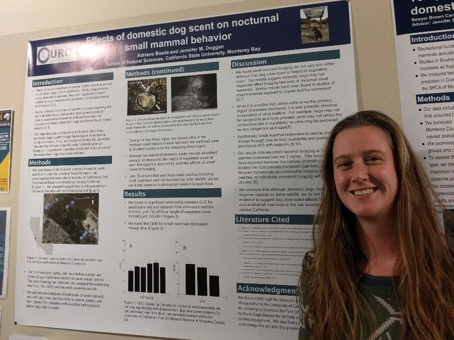 Adriane Baade and her poster