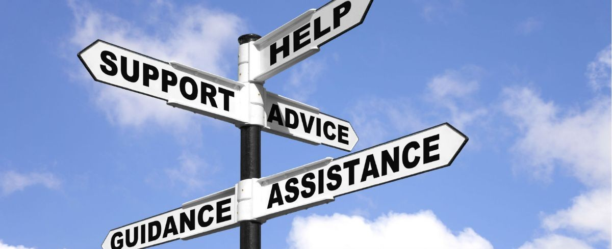 Signaling directions of help, support,advice, guidance and assistance