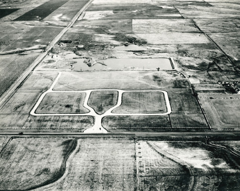 Our humble beginnings. Resthaven Cemetery at the start of sales 1947. Looking East. 104th St and Western are dirt roads.
