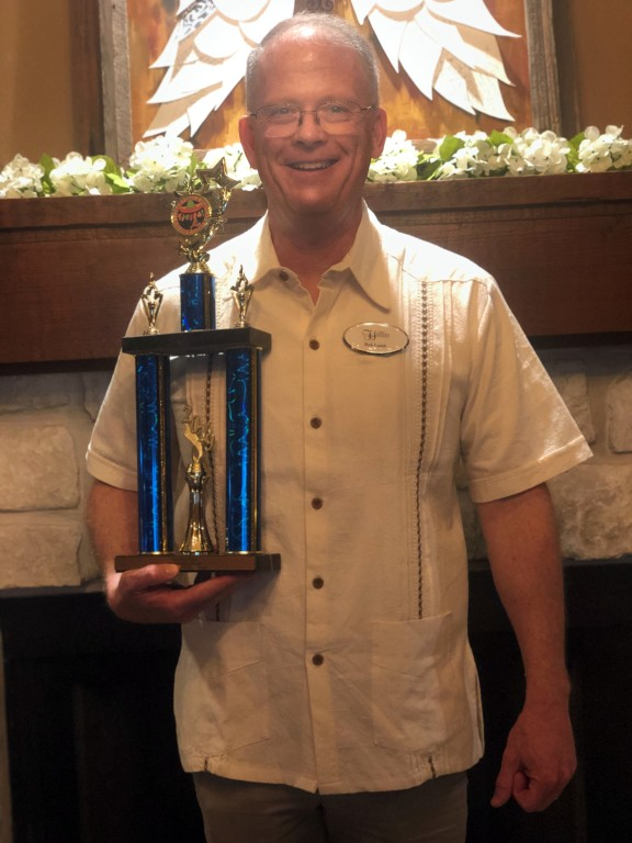 Rob Lamb with our 2nd Place Trophy for Best Booth at the Senior Expo