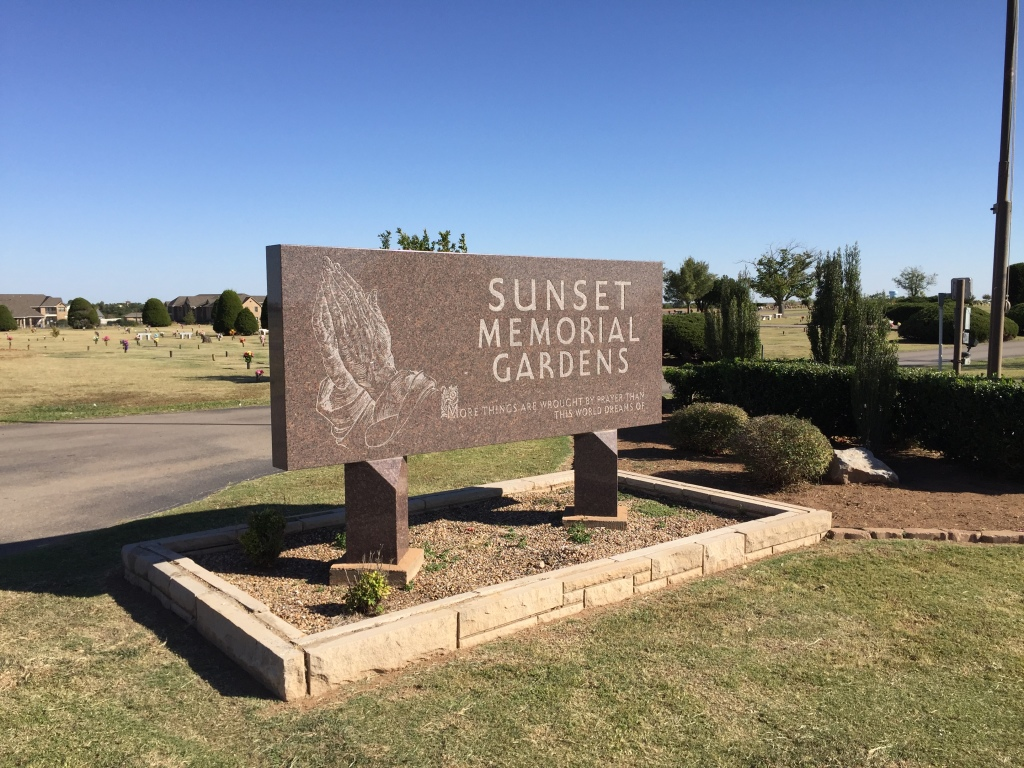 Sunset Memorial Gardens Sign