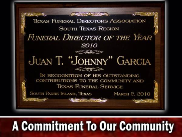 Ceballos-Diaz Funeral Home Texas Funeral Directors Association Award