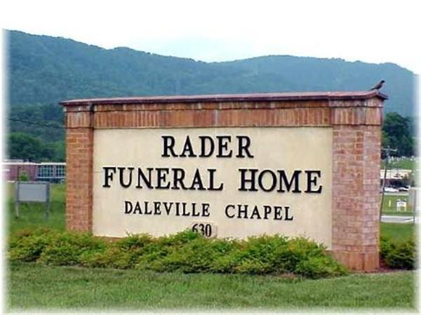 Rader Funeral Home Sign