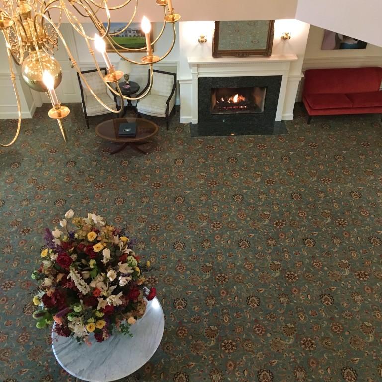 Fireplace in lobby from balcony
