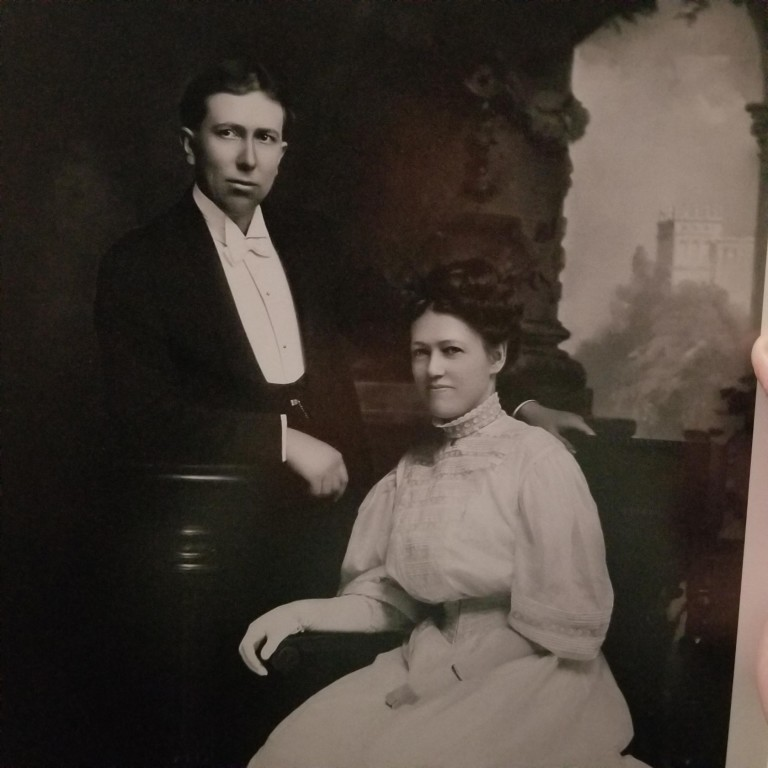 Dan & Grace White on their wedding day 1907. Founders of the funeral home.