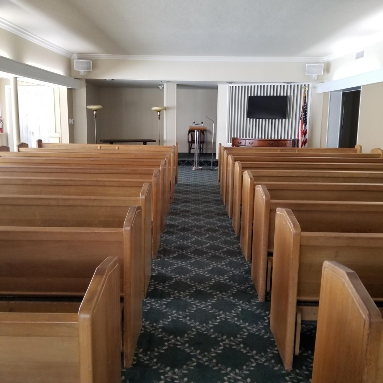 Our Chapel seats about 100 people